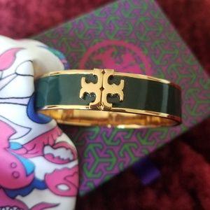 NEW (ish)  Tory Burch Green enamel/18kt bracelet